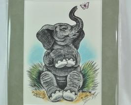 Baby Elephant drawing signed artist Shane Slayer Colorized - $9.99