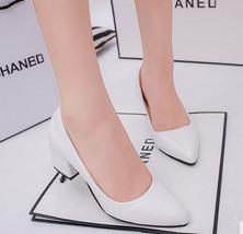 pp132 Elegant sharp head block heel pumps,size 34-39, white - $39.90