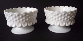 Fenton Hobnail Milk Glass Candle Holders Footed... - $21.49