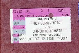 1996-97 New Jersey Nets Ticket Stub vs Charlotte Hornets Richmond Coliseum - $3.99