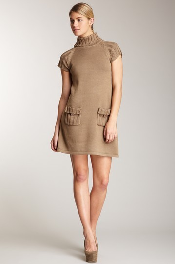 Calvin Klein Brown Turtleneck Pocket Dress Size Small NWT $138