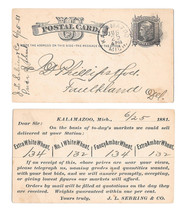 Scott UX5 1881 Kalamazoo MI Fancy Cork Cancel Preprinted JL Sebring Wheat Prices - $9.95