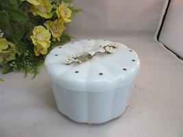 Vtg 1960's Menda Vanitee baby blue acrylic vanity powder dish with flowers - $19.99