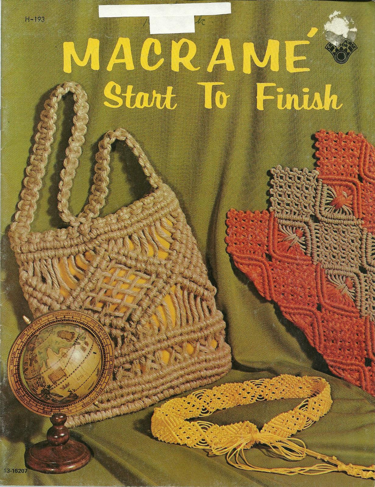 Macrame Start To Finish Booklet H-193  Candle Vase Cradle Necklaces Bracelet - $9.99