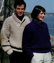 Knit Sweaters 'Spirit Of The North' Men & Ladies Patons #650 Norspun - $4.98
