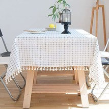 Lahome Checkered Tassel Tablecloth - Cotton Linen Table Cover Kitchen Di... - $30.29