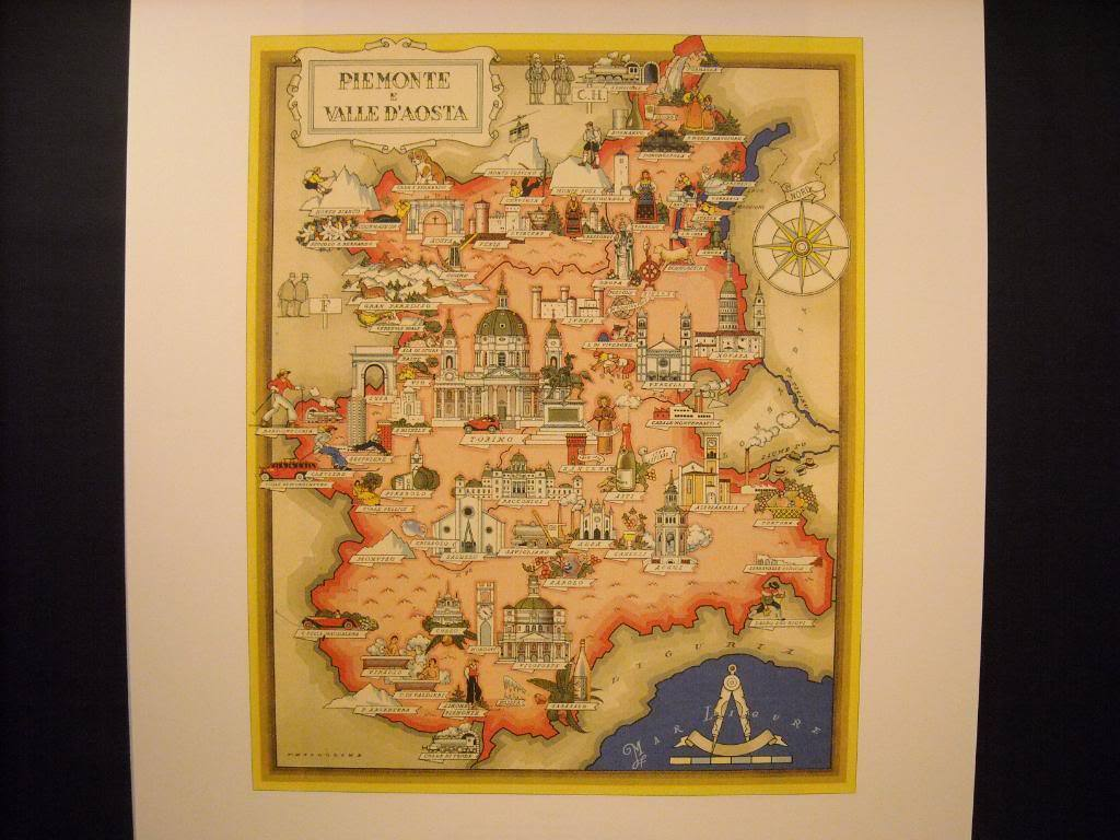 Vintage Reprint Color Illustrated Map Piemonte Valle Daoste, Italy Poster