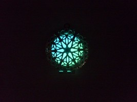 GLOW IN THE DARK Silver CIRCLE Filigree Locket Vintage Gothic Steampunk ... - $13.95
