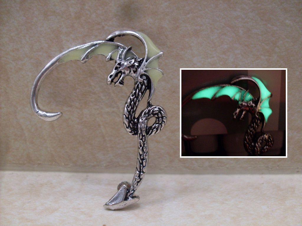 GLOW IN THE DARK Dragon Antique Bronze or Silver Earring Ear Cuff Wrap Punk Goth - $15.95