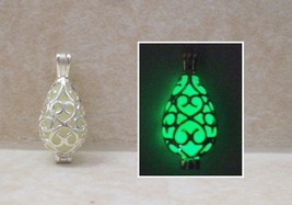 GLOW IN THE DARK Double Sided Silver Filigree Teardrop Charm Pendant Nec... - $15.00