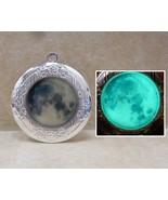 GLOW IN THE DARK Full Moon Round Silver Photo Locket Vintage Steampunk G... - $18.00