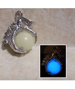 GLOW IN THE DARK Dragon Claw & Magic Materia Orb Silver Charm Necklace - $18.50