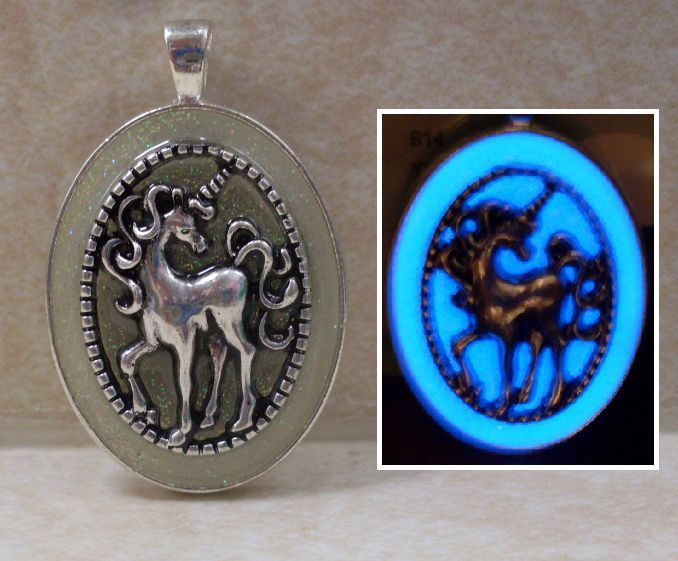 Primary image for GLOW IN THE DARK Unicorn Horse Glitter Oval Charm Pendant Fantasy Necklace