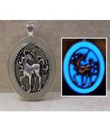 GLOW IN THE DARK Unicorn Horse Glitter Oval Charm Pendant Fantasy Necklace - $12.35+
