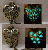 GLOW IN THE DARK 2 Designs in 1 Double Sided Bronze Heart Charm Pendant ... - $13.95