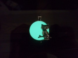 GLOW IN THE DARK Owl and Full Moon Circle Pendant Charm Necklace -- CHOO... - $12.00