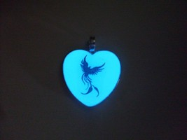 GLOW IN THE DARK PHOENIX Silhouette Necklace Creature Mythology CUSTOMIZ... - $14.50