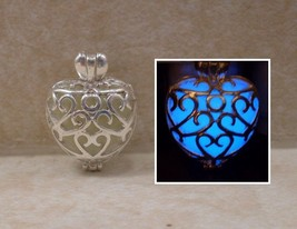 GLOW IN THE DARK Double Sided Hearts within a Heart Swirl Pendant Charm ... - $16.00