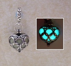 GLOW IN THE DARK Double Sided Antique Silver Linked Heart Charm Pendant ... - $15.00