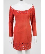 Jitrois Red Suede Leather Cutout Dress Sz 38 US 6 - $435.00