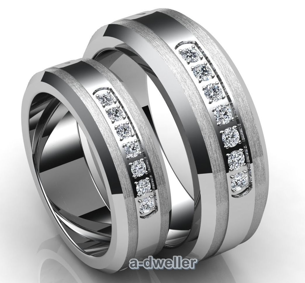 his n her tungsten carbide diamond couple wedding band anniversary ring set diamond. Black Bedroom Furniture Sets. Home Design Ideas
