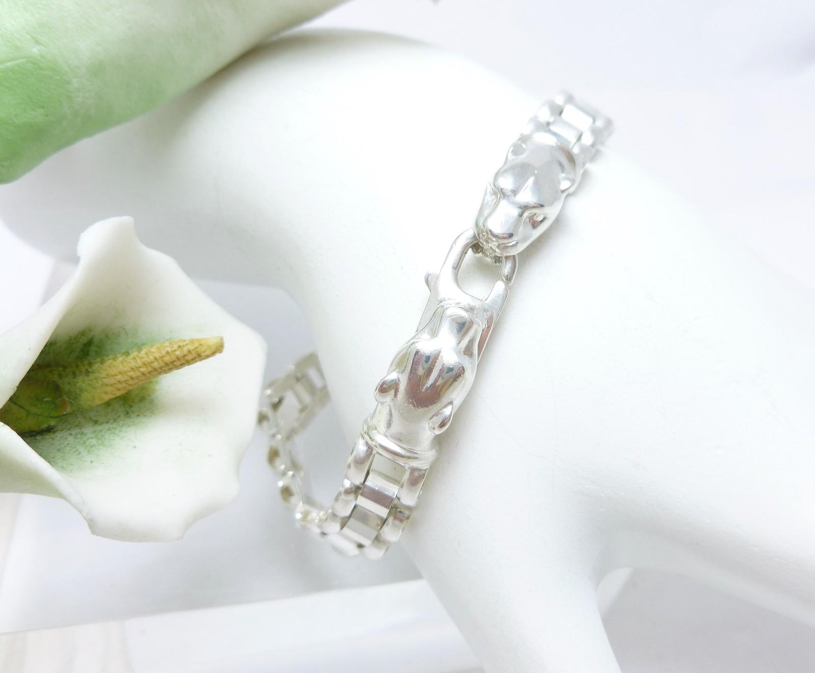 Sterling Silver Panther Head Link Bracelet 7 inch, 13.9 gr