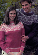 CHUNKY KNITS FAMILY BEEHIVE PATONS #447 PULLOVERS CARDIGANS FAIR ISLE AR... - $4.98