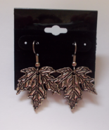 Maple Leaf Dangle Earrings Antique Silvertone M... - $8.50