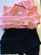 Lot Of 2 Justice Hoodie Sweater Cable Knit Pink Orange 16 Black Bolero - $10.20