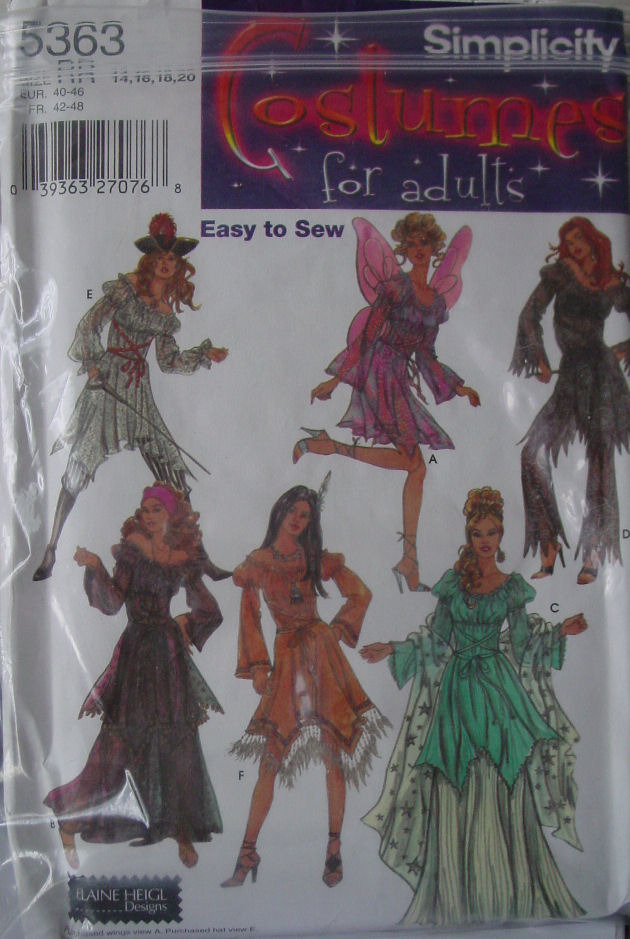 Pattern 5363 Adult sz 14-20 Costumes  Fairy, Gypsy, more Easy to Sew