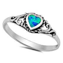 Ring Size 5 Heart Midi Kids Ladies Sterling Silver Opal Blue Knuckle New x53 - $9.71