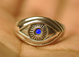 Celtic Absorb Evil Eye convert positive ring Sterling Silver Sapphire Pi... - $28.42