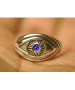 Celtic Absorb Evil Eye convert positive ring Sterling Silver Sapphire Pi... - $29.69