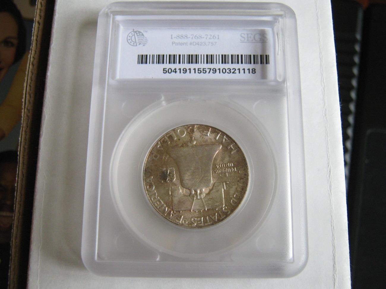 Franklin Half Dollar , 1955 , MS-63 , Toned , Bell Lines /Nicks , SEGS Certified