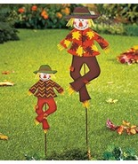 Set Of 2 Metal Whimsical Cute Autumn Harvest Scarecrow Outdoor Yard Garden - $41.41