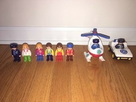 Playmobil People (Eight), Police Car and First Aid Helicopter - Lot of 10 - $15.00
