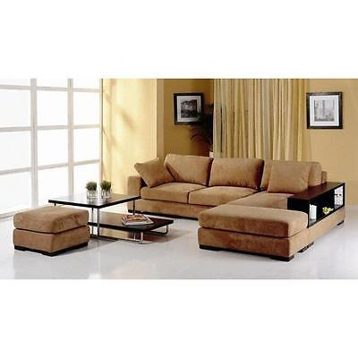 BH Telus Brown Sectional Right Hand Chaise Fabric Upholstery Modern Style