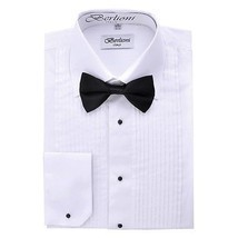 BERLIONI ITALY MEN'S CLASSIC FIT TUXEDO LAYDOWN COLLAR BOW TIE DRESS SHI... - $24.95