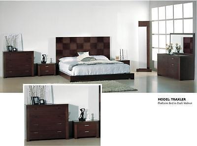 BH Traxler Queen Size Platform Bedroom Set Brown Modern 2 Night Stands