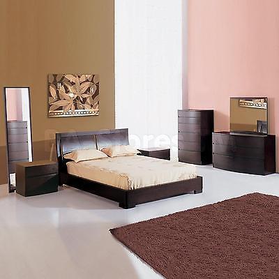 BH Maya Queen Size Platform Bedroom Set 5pc Espresso Contemporary Style