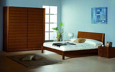 BH Alpha Queen Size Platform Bedroom Set 2 Night Stands Teak Contemporary Style