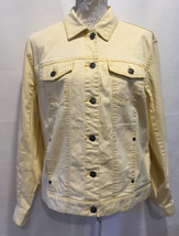 Chico's Denim Women Casual Maize Yellow Button Front Long Sleeve Jacket ... - $21.99