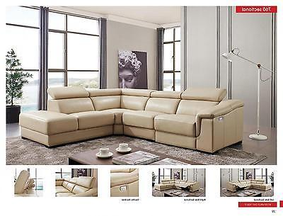 ESF 760 Beige Leather Living Room Sectional Electric Recliner Left Hand Facing