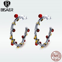 BISAER 2018 Newe Design Circle Earrings 925 Sterling Silver Red Berry Fr... - $21.67