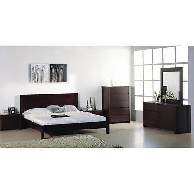 BH Etch Queen Size Platform Bedroom Set 2 Night Stands Wenge Modern Style