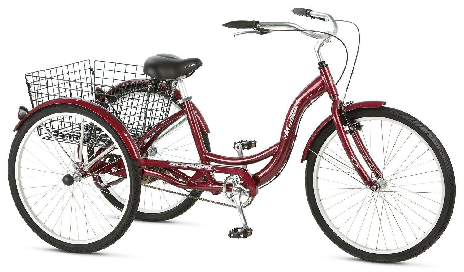 Adult Tricycle For Bike Schwinn Meridian 3 Wheel 26 Inch With Basket Red Bicycle
