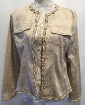 Chico's Women Tan Floral Open Front Long Sleeve Ruffled Cotton Jacket Si... - $21.99