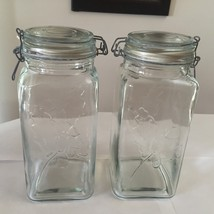 2 Wire Bale Clear Square Glass Jars Storage Con... - $9.25