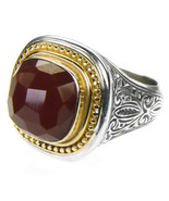 Gerochristo 2596 -Solid Gold, Silver & Carnelian-Medieval Byzantine Ring... - $710.00