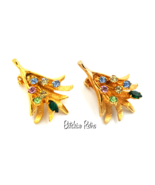 Kramer Vintage Earrings with Colorful Rhinestone Sprays and Retro Style - $18.00